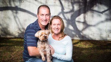 Released: Marcus Lee and his wife Julie with their dog Dudley.