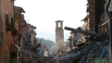 A view of Amatrice, central Italy after an earthquake struck on August 26.