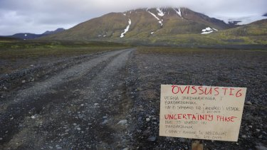 TURN BACK NOW: A warning sign blocks the road to Bardarbunga volcano, some 20 kilometres away, in the north-west region of the Vatnajokull glacier in Iceland.