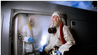 Husband and wife team Steven Penn and Lorinda de Regt-Penn run a forensic cleaning team that works in squalid properties.