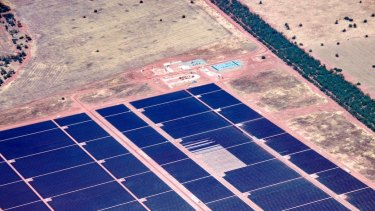 China's solar installations are the equivalent of 50 times Australia's biggest plant at Nyngan in NSW (pictured) - in the first quarter alone.
