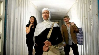 Mina Mokhtarani, Eliza D'Souza and Nick Pelomis in <i>The Container</i>.