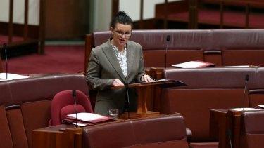 PUP Senator Jacqui Lambie delivers a statement to the Senate