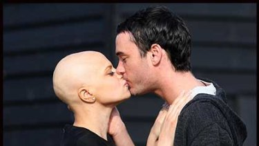 Jade Goody and Jack Tweed kiss yesterday.