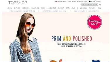 The controversial image of Queensland model Codie Young on the Topshop website.