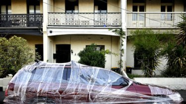 April Fool! ... a plastic-wrapped car in Clifton Hill.