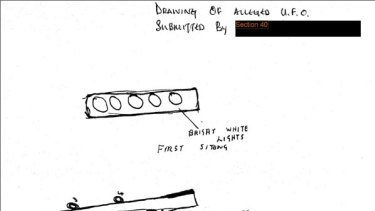 This sketch, complete with blacked out witness name, was among 19 files of reported UFO sightings released by Britain's National Archives.
