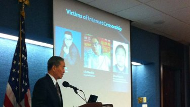 Laogai Research Foundation executive director Harry Wu announces the court case in June this year.