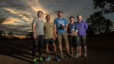 Walking for veterans: Kate and Ray Palmer, Rob Moreland, Anica Beckett and Lorrae Blackmore.