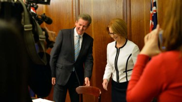 New South Wales Premier Barry O'Farrell and Prime Minister Julia Gillard prepare to sign the National Education Reform Agreement in Sydney on Tuesday.