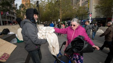 Kathleen Hall came from Hoppers Crossing to donate items to homeless people at City Square.
