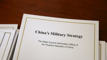 Copies of the white paper on China's military strategy released on Tuesday.