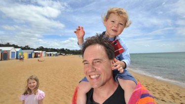 Federal MP Greg Hunt with his kids Poppy and James, at Mt Martha beach.