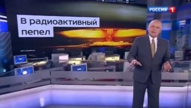 Television presenter Dmitry Kiselyov issued a stark warning about Moscow's nuclear capabilities on his weekly current affairs show.