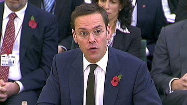 James Murdoch speaks to the parliamentary committee investigating the phone hacking scandal in November.