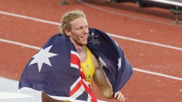 A jubilant Steve Hooker after his gold winning jump.