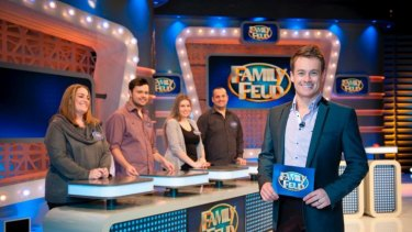 Grant Denyer on the set of Family Feud.
