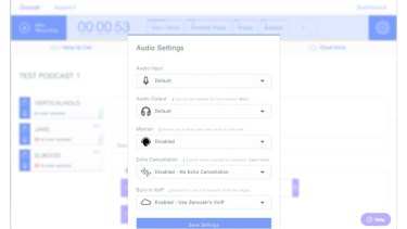 Before you start recording, the Zencastr dashboard lets you select your audio device and change other settings.