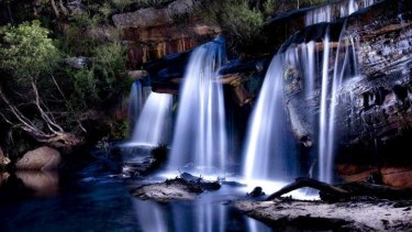 Winifred Falls after rain, Royal National Park. Light painting taken at night using a torch to illuminate the scene.