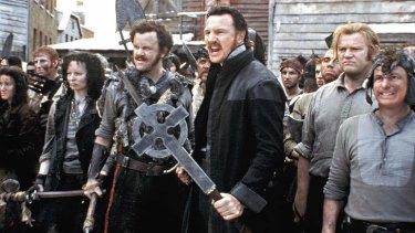 Liam Neeson as a devout Irish Catholic warrior in Martin Scorsese's <i>Gangs Of New York</i>.
