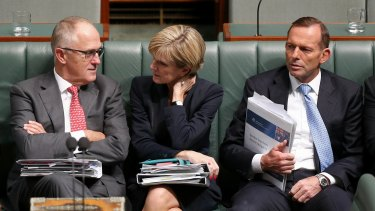 Communications Minister Malcolm Turnbull, Foreign Affairs Minister Julie Bishop and Prime Minister Tony Abbott during question time on Thursday.