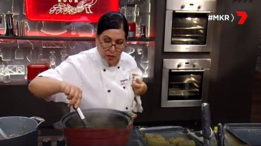 Valarie poaching fish until the lat minute during MKR's grand final.