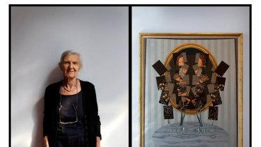 Helen Maudsley, wife of painter John Brack, with the work she has donated to Melbourne University's Ian Potter Gallery.