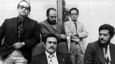 United front ... Joao Carrascalao, centre front, with his brother Mario, right, and other members of the Timorese Democratic Union.