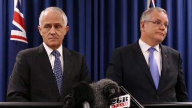Prime Minister Malcolm Turnbull and Treasurer Scott Morrison during a press conference in Brisbane on Wednesday 1 June 2016. Photo: Andrew Meares