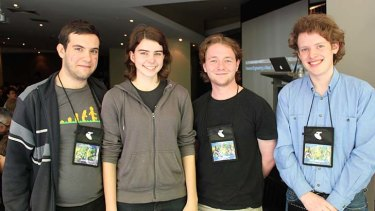 "The Sydney university students who cracked the algorithm used on Sydney transport tickets ... Theo Julienne, Karla Burnett, Damon Stacey and Dougall Johnson <i>Photo:  <b><a href=""http://www.scmagazine.com.au"">Darren Pauli/SCMagazine</a></i></b>"
