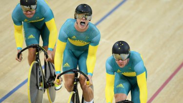 Nathan Hart, Matthew Glaetzer and Patrick Constable in the team sprint.