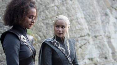 He put his what where? Missandei (Nathalie Emmanuel) and Daenerys (Emilia Clarke) have a Sex and the City moment.