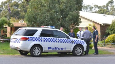 Police on scene where a woman's body was found in a Traralgon home this morning.