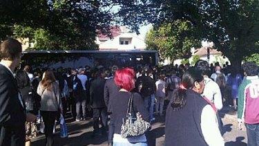 Stranded passengers at Darling station this morning.