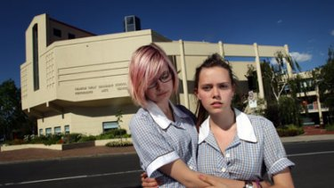 Hannah Williams (right) is not allowed to take her girlfriend, Savannah Supski, both 16, to the Ivanhoe Girls' Grammar School formal.