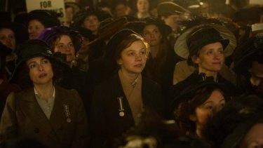 Helena Bonham Carter, Carey Mulligan and Anne-Marie Duff in the film <i>Suffragette</i>.