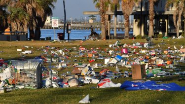 Boxes, broken glass, even a trolley: the rubbish in St Kilda is 'appalling'.