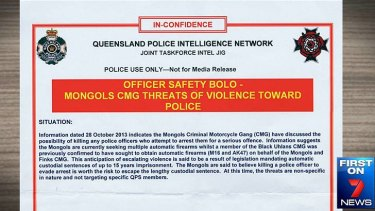 The warning issued to Queensland police officers.