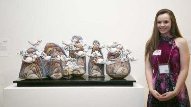 High concept: Bowral High School student Sophie Everingham poses with her ceramic work <i>Transcendence</i>.