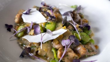 Il Bacaro's polenta and porcini pasta with rabbit ragu and broad beans.