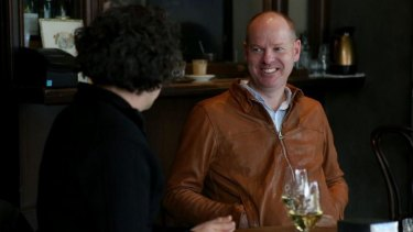 Tom Gleeson with Age journalist Paul Kalina at City Wine Shop.
