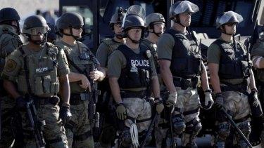 Police in riot gear in Ferguson, Missouri.