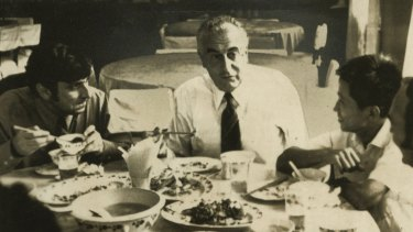Stephen FitzGerald, left, and Gough Whitlam at a banquet in Shanghai celebrating Whitlam's 55th birthday.