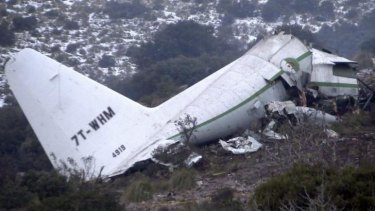 The wreckage of an Algerian military transport plane which slammed into a mountain on Tuesday in the country's rugged eastern region.