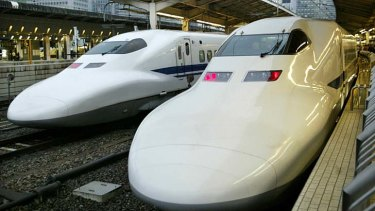 "Growing demand: Shinkansen, or ""bullet trains"", at Tokyo station."
