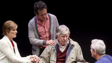 From left, Kate Raison, Tyler Coppin and Martin Vaughan in the Ensemble Theatre production <em>At Any Cost?</em> by David Williamson and Mohamed Khadra.