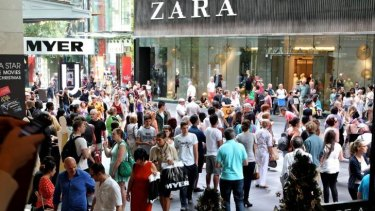 Shoppers in Sydney's Pitt Street Mall.