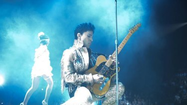 Prince on stage during his current Australian tour.