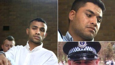 Relatively speaking ...  Sione Taufahema, left, will be deported but Motekiai Taufahema, top right, will be allowed to stay. The brothers were jailed for 11 years for the manslaughter of Senior Constable Glenn McEnallay (bottom right).