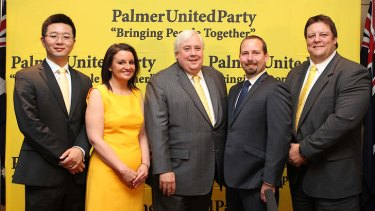 Clive Palmer, centre, with his senators-elect, from left Dio Wang, Jacquie Lambie, Ricky Muir (Motoring Enthusiasts Party), and Glenn Lazarus.
